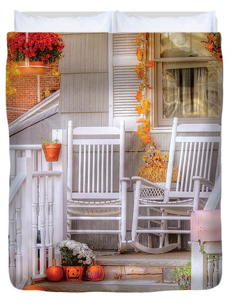 Autumn - House - My Aunts porch Duvet Cover by Mike Savad