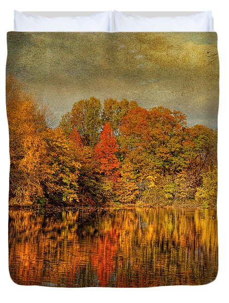 Autumn - Landscape - Tamaques Park - Autumn in Westfield NJ  Duvet Cover by Mike Savad