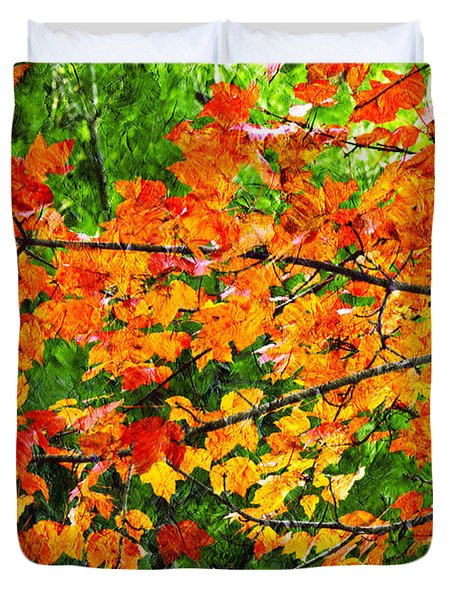 Autumn Abstract Painterly Duvet Cover by Andee Design