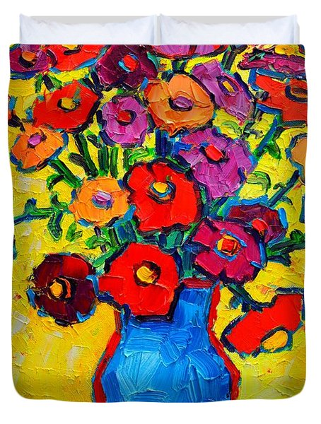 Autumn Flowers Zinnias Original Oil Painting Duvet Cover by Ana Maria Edulescu