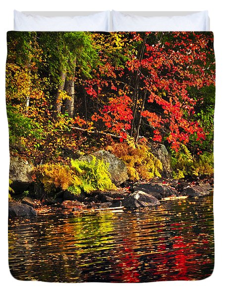 Autumn forest and river landscape Duvet Cover by Elena Elisseeva