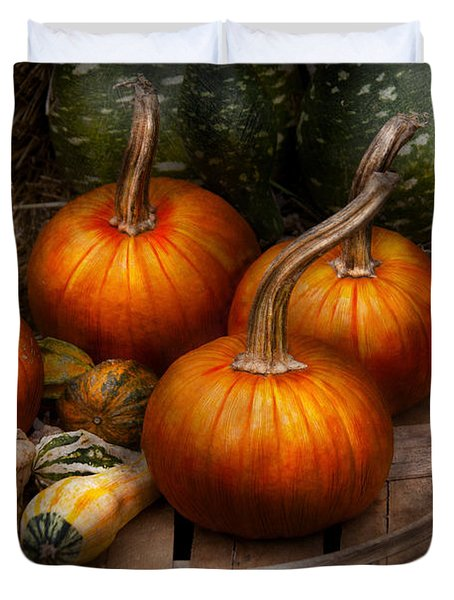 Autumn - Gourd - Pumpkins And Some Other Things  Duvet Cover by Mike Savad