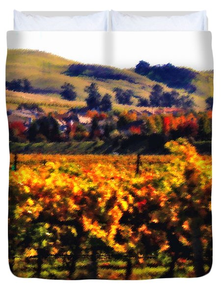 Autumn in the Valley 2 - Digital Painting Duvet Cover by Carol Groenen