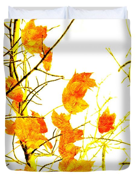 Autumn Leaves Abstract Duvet Cover by Andee Design