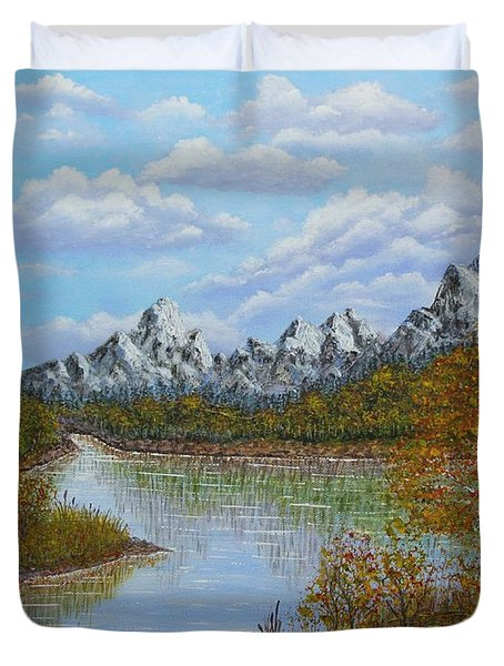Autumn Mountains Lake Landscape Duvet Cover by Georgeta  Blanaru