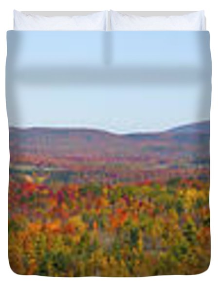 Autumn Panorama Brome Quebec Canada Duvet Cover by David Chapman