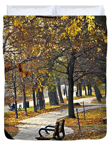 Autumn Park In Toronto Duvet Cover by Elena Elisseeva