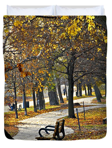 Autumn park in Toronto Duvet Cover by Elena Elisseeva