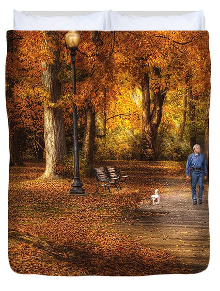 Autumn - People - A walk in the park Duvet Cover by Mike Savad