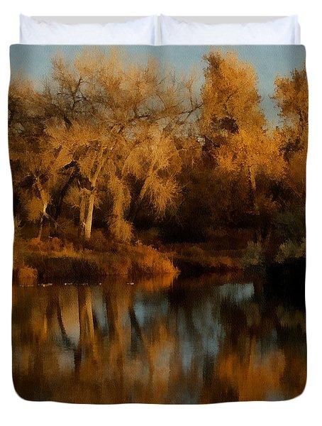 Autumn Reflections Painterly Duvet Cover by Ernie Echols