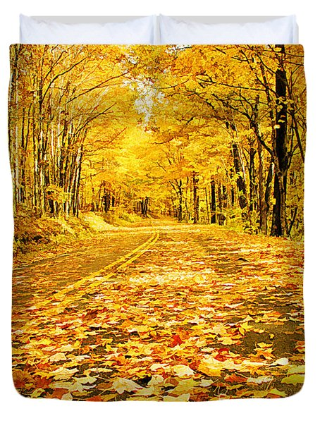Autumn Road Duvet Cover by Darren Fisher
