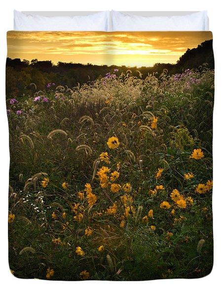 Autumn Wildflower Sunset - D007757 Duvet Cover by Daniel Dempster