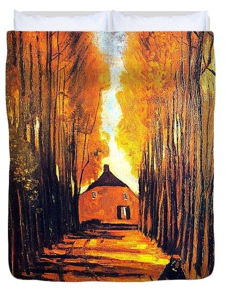 Avenue At Poplars Duvet Cover by Sumit Mehndiratta