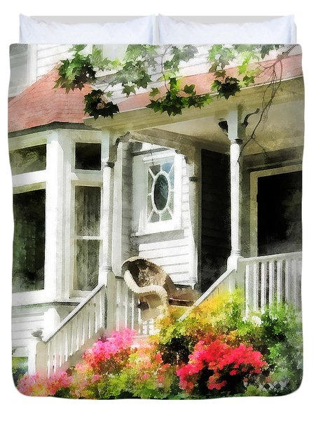 Azaleas By Porch With Wicker Chair Duvet Cover by Susan Savad