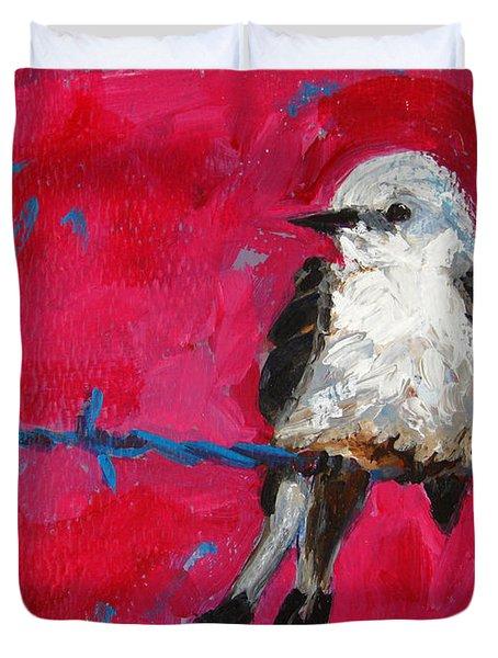 Baby Bird On A Wire Duvet Cover by Patricia Awapara
