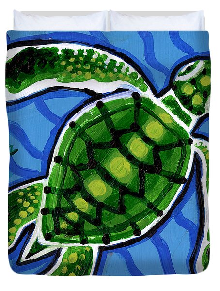 Baby Green Sea Turtle Duvet Cover by Genevieve Esson