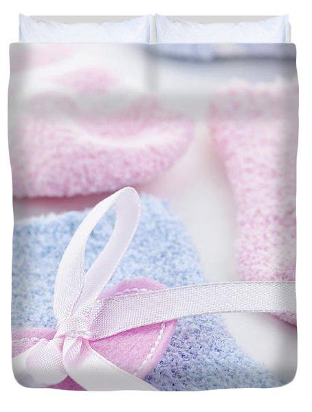 Baby socks  Duvet Cover by Elena Elisseeva