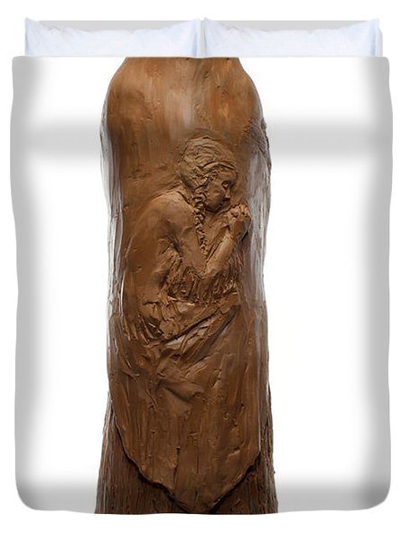 Back view of Saint Rose Philippine Duchesne sculpture Duvet Cover by Adam Long