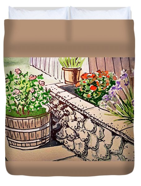 Backyard Sketchbook Project Down My Street Duvet Cover by Irina Sztukowski