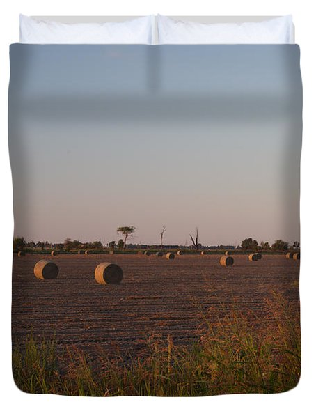Bales In Peanut Field 1 Duvet Cover by Douglas Barnett