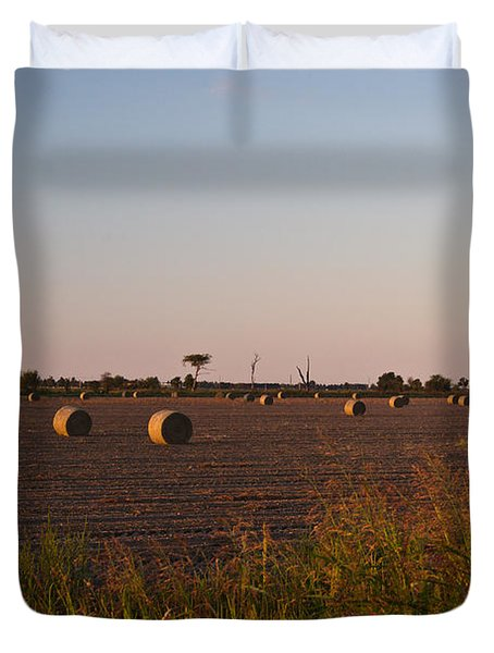 Bales in Peanut Field 10 Duvet Cover by Douglas Barnett