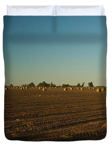 Bales In Peanut Field 9 Duvet Cover by Douglas Barnett