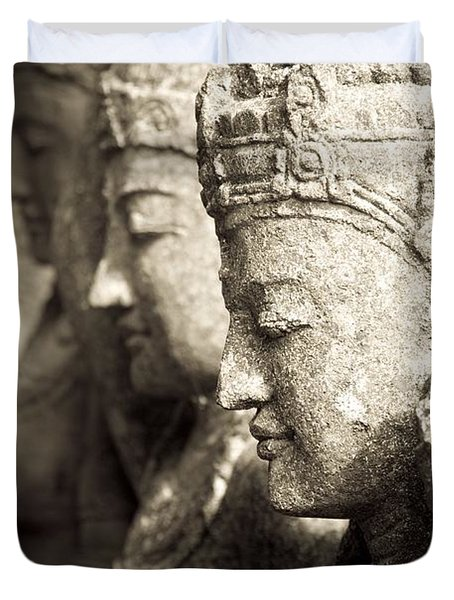 Bali, Indonesia, Asia Stone Statues Duvet Cover by Keith Levit