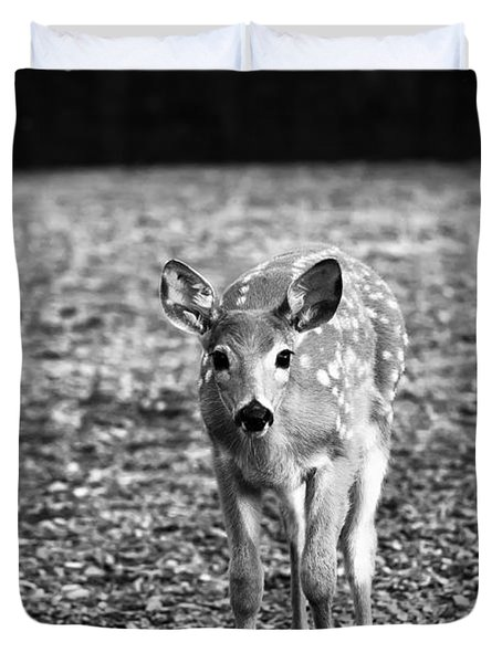 Bambi In Black And White Duvet Cover by Sebastian Musial