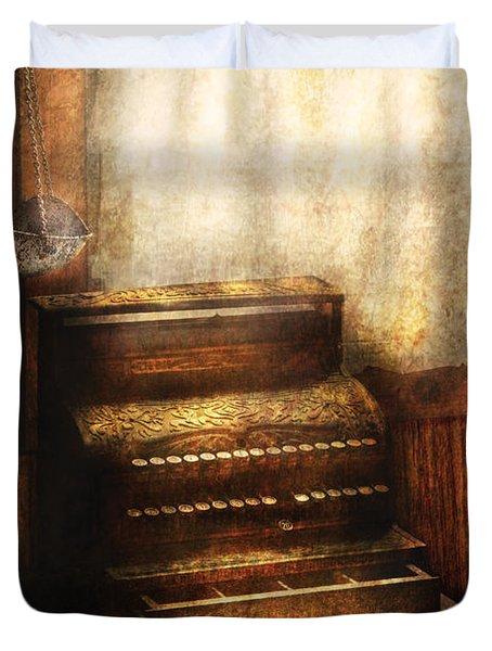 Banker - An Old Cash Register Duvet Cover by Mike Savad