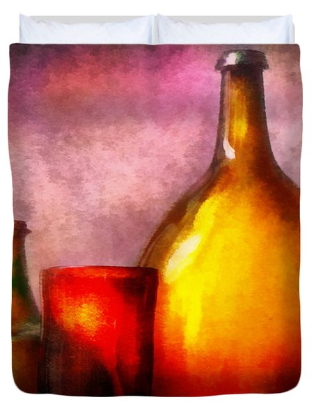 Bar - Bottles - A still life of bottles Duvet Cover by Mike Savad