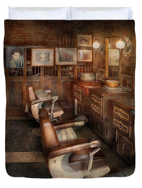 Barber - Clinton Nj - Clinton Barbershop  Duvet Cover by Mike Savad