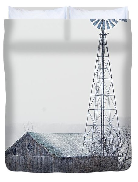 Barn And Windmill In Snow Duvet Cover by Larry Ricker
