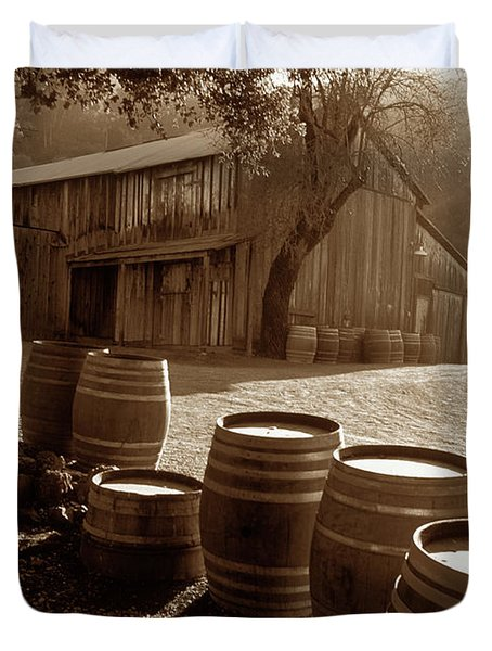 Barn and Wine Barrels 2 Duvet Cover by Kathy Yates