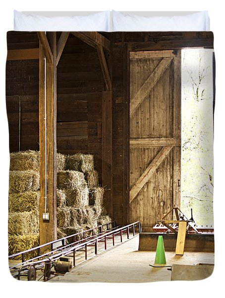 Barn With Hay Bales And Farm Equipment Duvet Cover by Elena Elisseeva