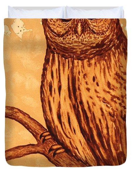 Barred Owl coffee painting Duvet Cover by Georgeta  Blanaru
