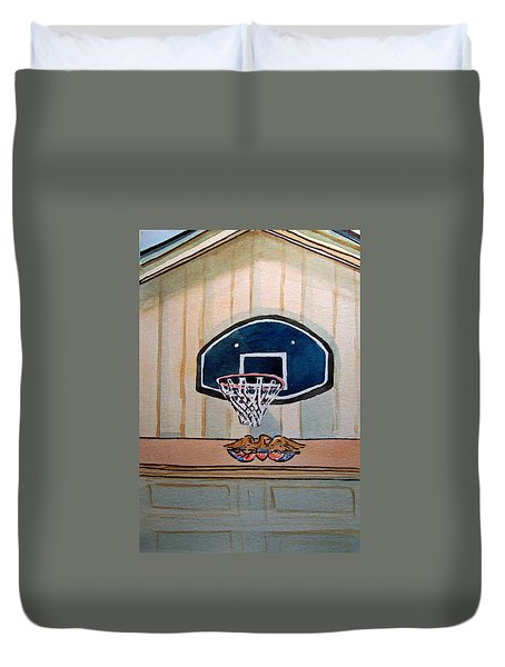 Basketball Hoop Sketchbook Project Down My Street Duvet Cover by Irina Sztukowski
