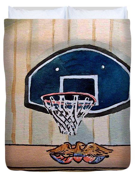 Basketball Hoop Sketchbook Project Down My Street Duvet Cover by Irina Sztukowski