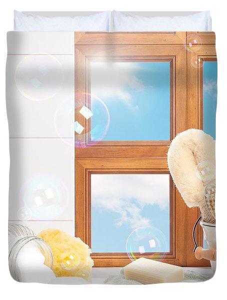 Bathroom Interior Still Life Duvet Cover by Amanda And Christopher Elwell