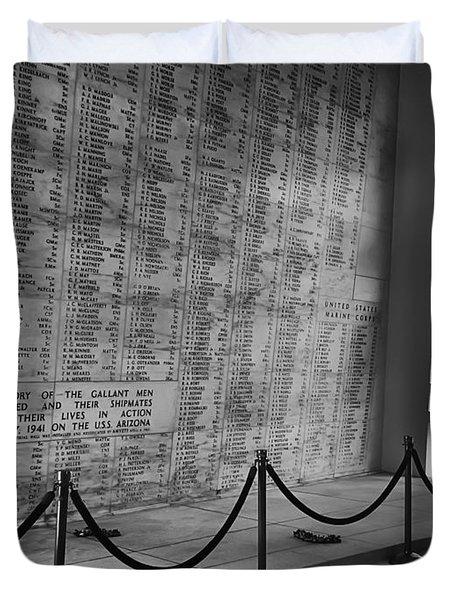 Battleship Arizona Memorial Wall - Pearl Harbor Hawaii Duvet Cover by Daniel Hagerman