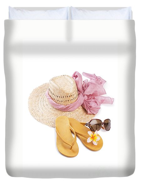 Beach Accessories Duvet Cover by Atiketta Sangasaeng