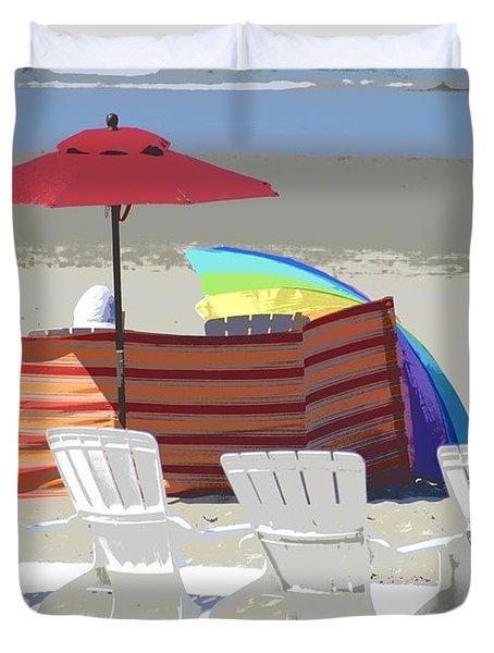 Beach Chairs Duvet Cover by Lori Seaman