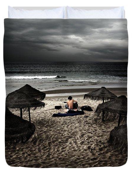 Beach Minstrel Duvet Cover by Carlos Caetano
