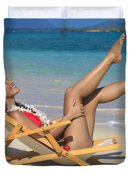 Beach Stretching II Duvet Cover by Tomas del Amo