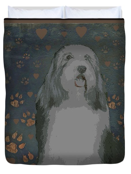 Bearded Collie Duvet Cover by One Rude Dawg Orcutt