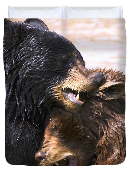 Bears In Water Duvet Cover by Carson Ganci