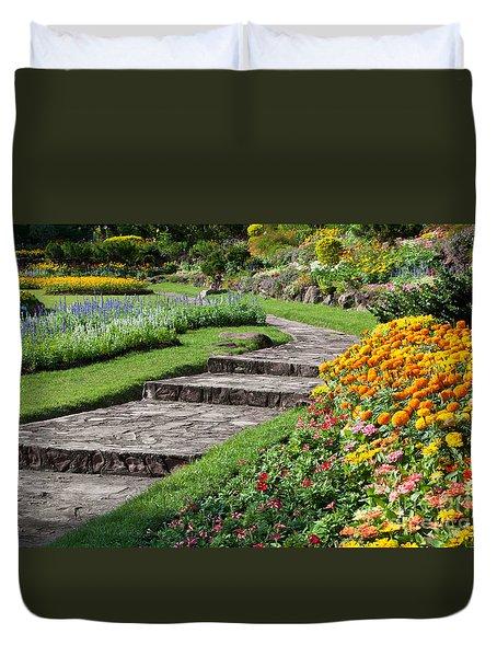 Beautiful Flowers In Park Duvet Cover by Atiketta Sangasaeng