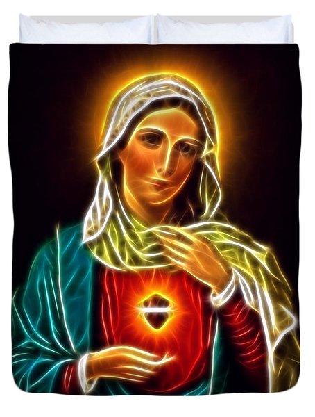 Beautiful Virgin Mary Sacred Heart Duvet Cover by Pamela Johnson
