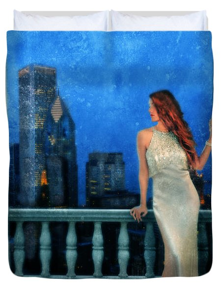 Beautiful Woman In Evening Gown With City Night View Duvet Cover by Jill Battaglia