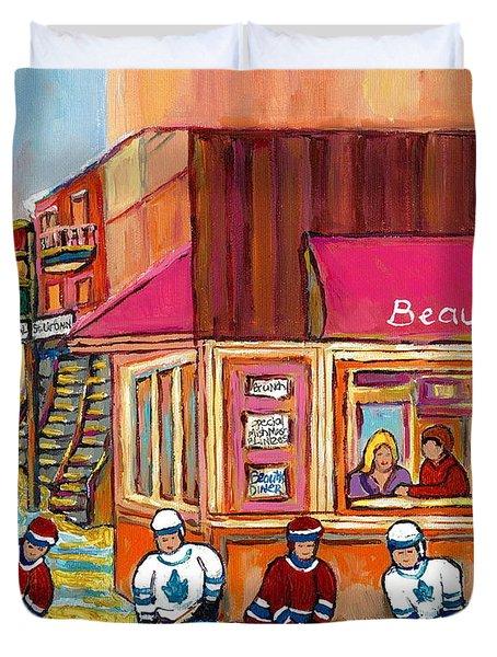 Beauty's Restaurant-montreal Street Scene Painting-hockey Game-hockeyart Duvet Cover by Carole Spandau