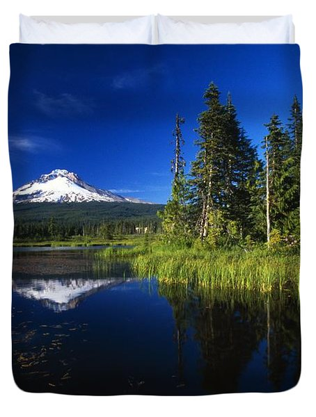 Beaver Dam In Pond, Reflection Of Mount Duvet Cover by Natural Selection Craig Tuttle